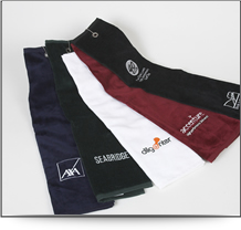 Luxurious embroidered golf towels